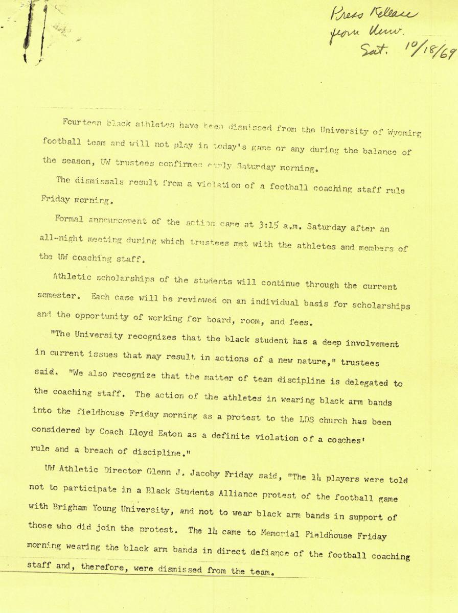 the black race politics religion and wyoming football  click to enlarge the press release issued by the uw trustees at 3 15 a m oct 18 1969 american heritage center author s collection