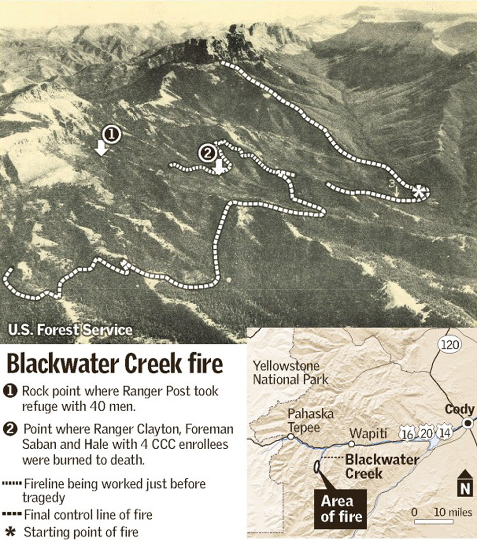 The Deadly Blackwater Fire WyoHistoryorg - Us map forest fires