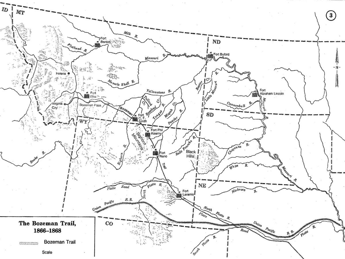 A Brief History Of The Bozeman Trail WyoHistoryorg - Map of northern wyoming