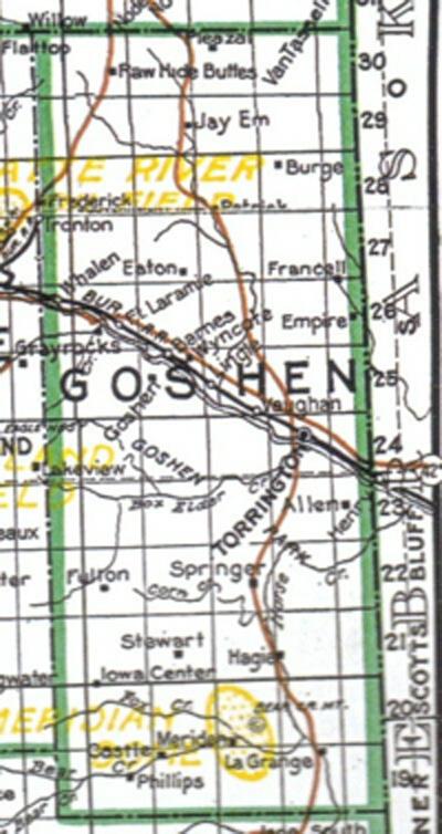 Goshen County Wyoming WyoHistoryorg - Map of egypt goshen