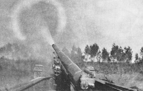 One of the French-made 155s, firing.