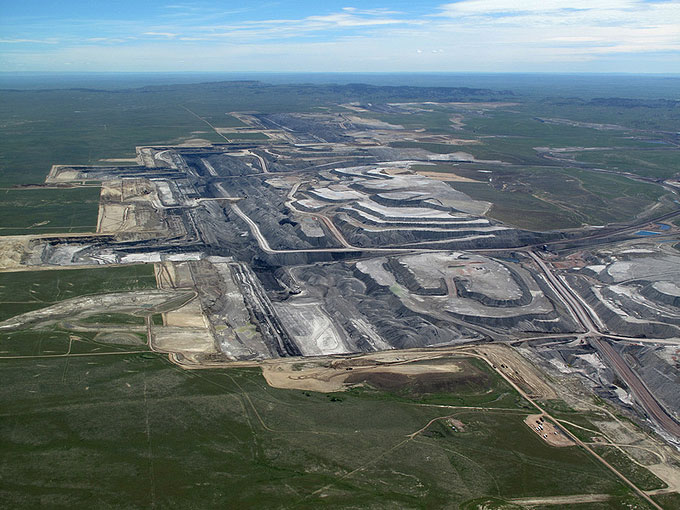 The Black Thunder Coal Mine is as of 2012 the largest producing coal mine in the world. Ecoflight photo.
