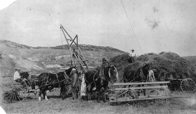 An early-day haying operation near Almy, Wyo. Uinta County Museum photo.