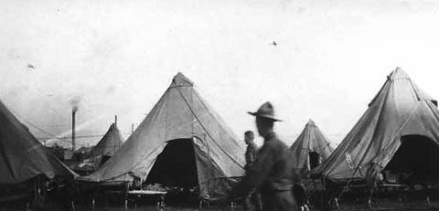 The soldiers of the 148th Field Artillery were among thousands Camp Mills, Long Island in 1917.