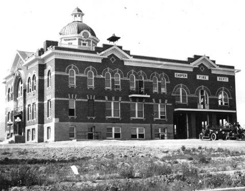Casper's second city hall--with a wing for the fire department-- opened  in 1919 at the corner of Center and 8th Streets. Morrison Collection,  Casper College Western History Center.