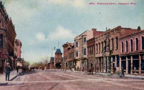 Sixteenth Street in downtown Cheyenne, around 1902. The U.S. marshal's office was inside the second-story bay window in the building at the left. Wyoming Tales and Trails.