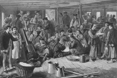 Chinese sojourners bound for the United States on the steamship Alaska, 1876. Library of Congress.