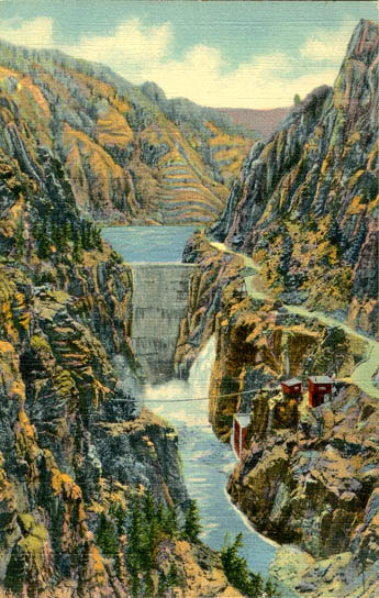 The Buffalo Bill Dam, eight miles up the Shoshone River from Cody, was completed in 1911. US Genweb Archives.