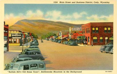Sheridan Avenue in Cody, seat of Park County, shown here about 1940, looks similar today. US Genweb Archives.