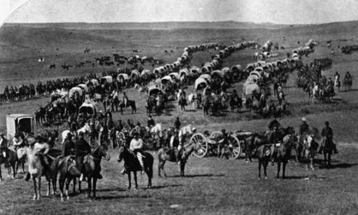 George A. Custer (left center in light clothing) and his military expedition to the Black Hills, 1874. William H. Illingworth, National Archives.