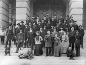 Constitutional delegates and friends gathered on the capitol steps in 1889. (WSA photo)