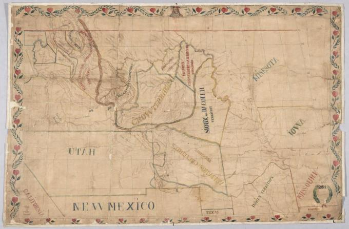 Father De Smet's map of the territories assigned to plains Indian tribes, 1851. Library of Congress.