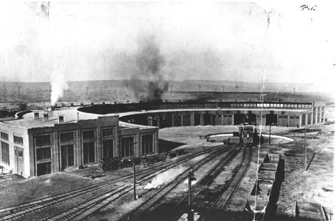 The Union Pacific Railroad roundhouse in Evanston, Wyo., about 1920. Uinta County Museum photo.