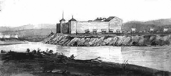 Fort Laramie 1849, sketch by James Wilkins, Wyoming Tales and Trails.