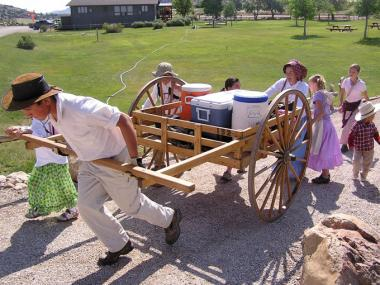 Handcart trekkers near the Martin's Cove visitor's center. Tom Rea photo.