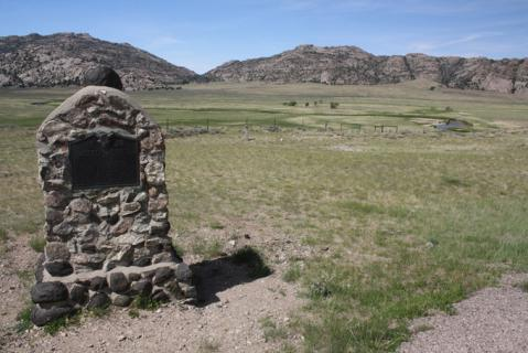 The 1933 monument at Martin's Cove, erected by the Utah Pioneer Trails and Landmarks Association. Tom Rea photo.