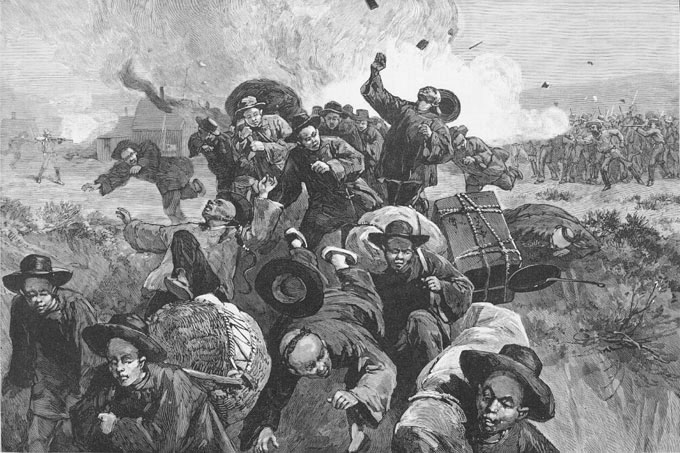 Massacre of the Chinese at Rock Springs. Library of Congress.