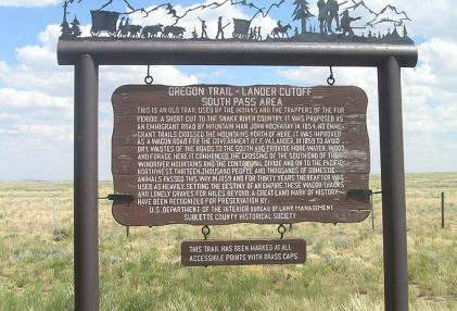 The marker at a state of Wyoming turnout at the point where the Lander Trail crosses state Highway 28 in the South Pass area. Will Bagley photo.