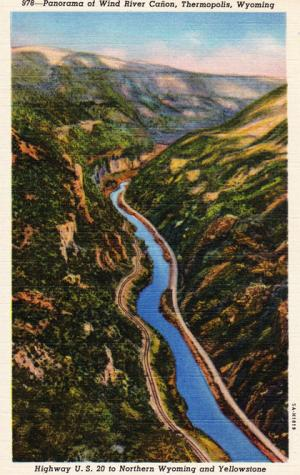 Wind River Canyon, looking north. 1940s postcard.