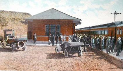 The Burlington depot at Thermopolis, ca. 1918. Wyoming Tales and Trails.