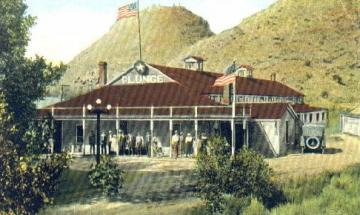 The Star Plunge at Thermopolis, shown here about 1918, is still in business. Wyoming Tales and Trails.