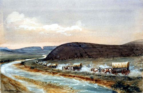 The great western migration has become iconic. Wagons passing Independence Rock, Wyoming on the Oregon Trail. William Henry Jackson.