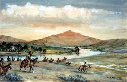 Red Buttes on the North Platte, where Robert Stuart and the Astorians built a cabin. WH Jackson watercolor.