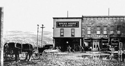 J.C. Penney's second Golden Rule store in Kemmerer, Wyo., about. 1908.  In 1913, he replaced the Golden Rule name with his own. Wyoming Tales and Trails.