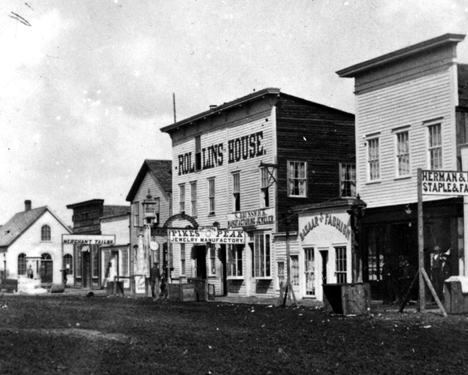Downtown Cheyenne, 1869. William Henry Jackson.