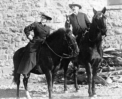 Lockhart poses on horseback with William F. Buffalo Bill Cody in an undated photo. Although the two were never particularly close, after Buffalo Bill's death in 1917, Lockhart came to see him as a symbol of the Old West and encouraged people of his namesake town to honor him. (Photo courtesy of Buffalo Bill Historical Center, Jack Price collection, # PN.89.106.21011.20.2)