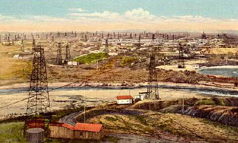 The Midwest Oil Company's field on Salt Creek about 1920, the year Congress approved a new system for leasing the right to produce oil on public lands. Wyoming Tales and Trails.