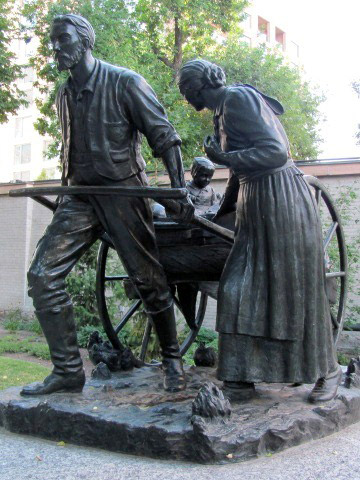 A statue at Temple Square in downtown Salt Lake City commemorates the handcart emigrants. Wikipedia photo.
