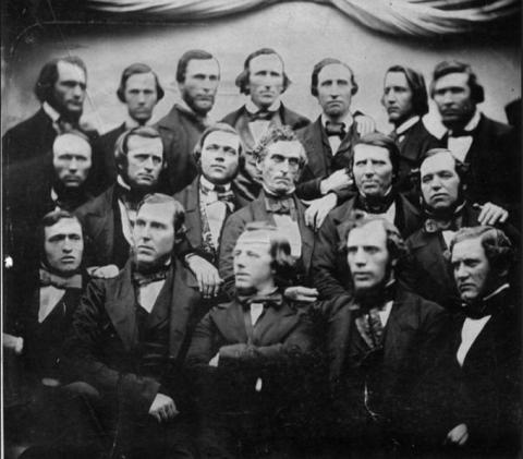 Mormon missionaries in Liverpool, England, 1855. LDS Church Archives. Edward Martin is on the extreme right of the middle row.