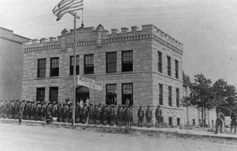 The Newcastle Armory was completed in 1914 and torn down in the 1960s. Alice Schuette Collection, Weston County Historical Society.