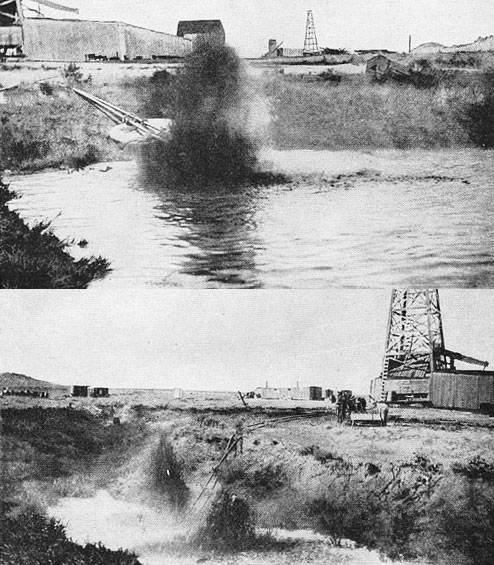 Oil gushing into pits at the Lance Creek field, 1920. USGS photos