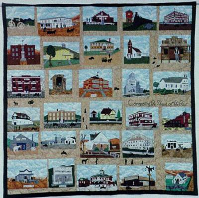 The Bag Ladies of Lusk made a quilt of the town's historic spots in 2001. Niobrara County Library