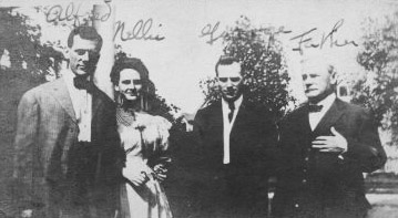 Nellie Tayloe about 1900 with her brothers, Albert and George, and their father, James. American Heritage Center.