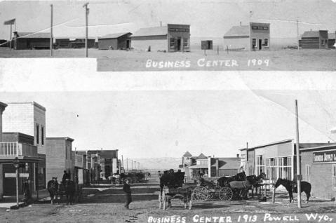 Downtown Powell, Wyo., 1909 and 1913. The earlier view shows the first business district on Clark Street; the later view looks north from the intersection of First and Bent streets. Homesteader Museum photo.
