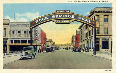 The Rock Springs Coal arch, shown here about 1929, has returned in recent years to its original site downtown. Wyoming Tales and Trails.