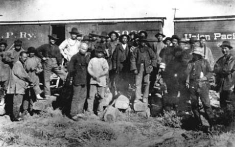Chinese miners in Rock Springs. Wyoming State Archives.