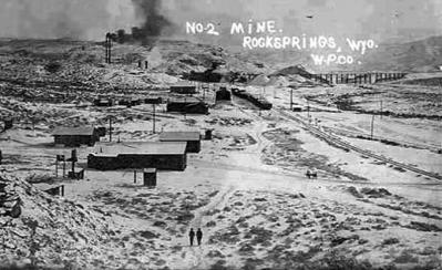 Rock Springs' No. 2 mine, no date. Wyoming Tales and Trails photo.
