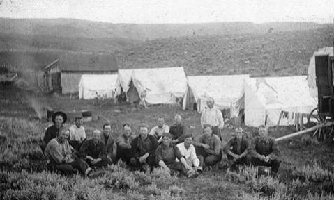 Sheepherders at a camp on Nowood Creek, north of Lost Cabin, 1916. Wyoming Tales and Trails.