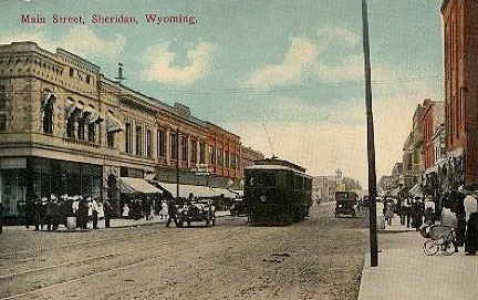 Sheridan in 1912, showing an electric trolley car that serviced the mining towns of Monarch and Acme, looking north.