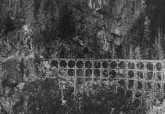 A trestle on the Tongue River tie flume, around 1900. Wyoming Tales and Trails.