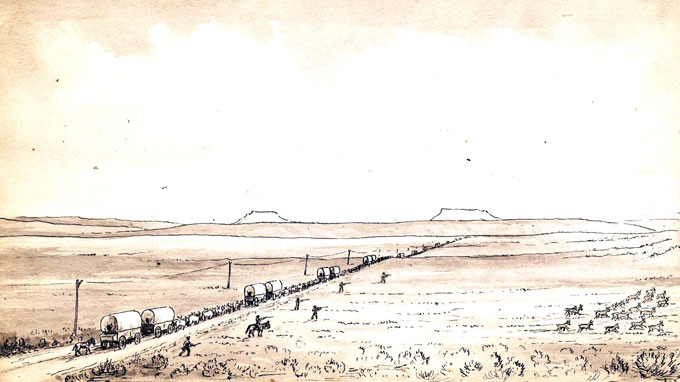 Pioneer photographer William Henry Jackson based this sketch of wagons and the transcontinental telegraph line near South Pass, with the Oregon Buttes in the distance, on his experiences in 1866, when he first crossed the pass as bullwhacker for a freight outfit at the age of 23. The men to the right of the wagon train are shooting at the fleeing pronghorn antelope. From the William Henry Jackson Collection at Scotts Bluff National Monument. Used with thanks.