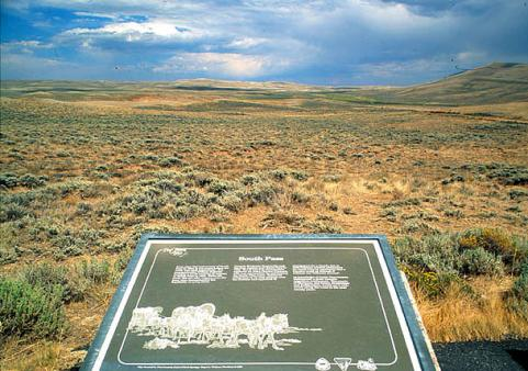 South Pass from the BLM interpretive sign; Pacific Butte to the right. Wyoming SHPO photo.