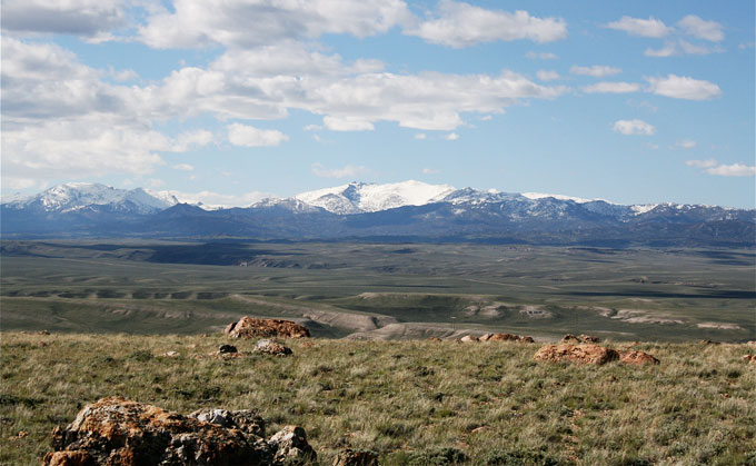 South Pass and Wyoming Highway 28, looking north from Pacific Butte toward the Wind River Mountains. Barbara Dobos photo.