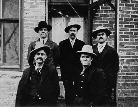 Defendants in the Spring Creek Raid case. Clockwise from top left: Herb Brink, Ed Eaton, George Saban, Tom Dixon, Milton Alexander. Washakie Museum photo.