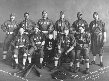 The Wyoming State Prison baseball team, 1911. Wyoming State Archives.