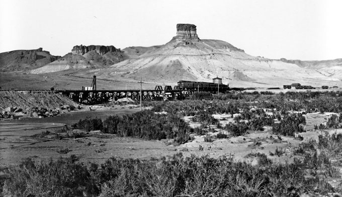 Green River Butte, now better known as Castle Rock, and Union Pacific Railroad Bridge, Green River, Wyo., 1869. W.H. Jackson photo.